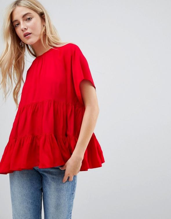 Bluzki Czerwona bluzka falbanki Asos