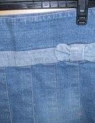 plisowana jeansowa Nikita z kokardką...