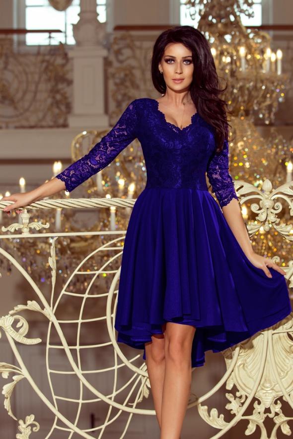 Chabrowa asymetryczna sukienka góra koronka L 40