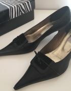 Ulmani czarne szpilki półbuty skórzane pantofle...
