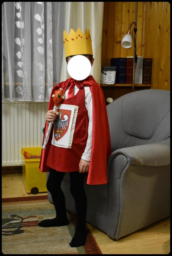 Pozostałe Elementy stroju karnawałowego KRÓL korona berło tunika z herbem