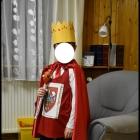 Elementy stroju karnawałowego KRÓL korona berło tunika z herbem