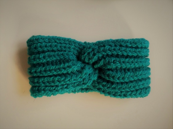 opaska twist robiona na drutach handmade zieleń morska...
