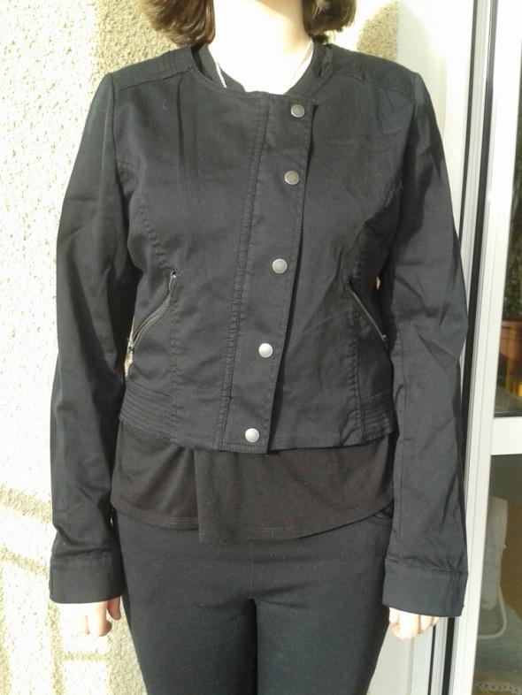 Czarna krótka materiałowa kurtka H&M zamki 42 44 XL XXL jak now...