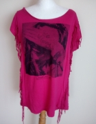 Różowa tunika bluzeczka z fędzlami...