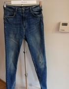 Spodnie jeans z wysokim stanem reserved rzemyk...