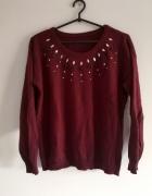 bordowy sweter S M L cekiny kamienie burgundowy oversize boho g...