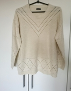 beżowy sweter S M L koronka oversize lace kremowy boho nude vin...