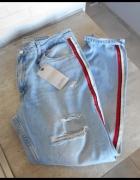 Zara nowe jeansy boyfriend paski z boku destroyed...
