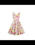 Nowa sukienka letnia 4XL 48 ananas flaming retro pin up bawełna...