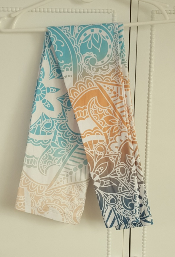 Nowe kolorowe legginsy getry S 36 M 38 wzór boho indyjski pastelowe