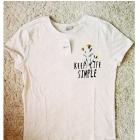 NOWA nieużywana koszulka beżowy melanż S M napis