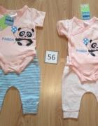 Nowy komplet Body kopertowe panda krótki rękaw i spodnie w pask...