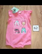 Nowy różowy rampers dla dziewczynki falbanki 62...