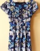 Cudna kwiatowa sukienka z falbaną 36...