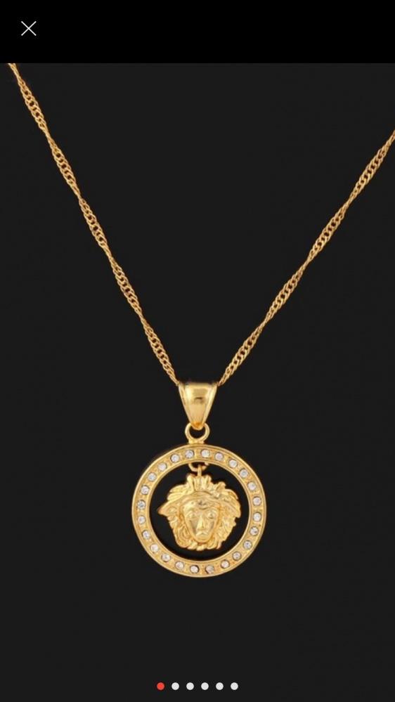 Łańcuszek z zawieszką styl Versace pozłacany