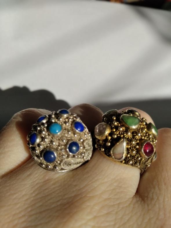 Bliźniaki srebrne filigranowe pierścionki...