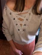 H&M sweter z wiązaniem na ramię sznurowany taśmą crop top krótk...