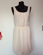 Zara pudrowa pastelowa sukienka suknia plecy...
