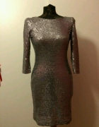 cekinowa cekiny sukienka złota srebrna odkryte plecy idealna na...