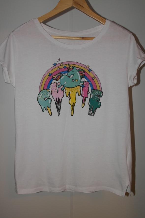 Reserved biała koszulka z nadrukiem unicorn r M