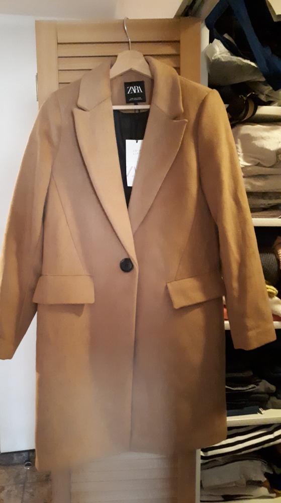 Nowy wełniany płaszcz Zara Camel...