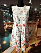 zara sukienka kwiaty floral ala spodenki nowa elegancka 36 S...