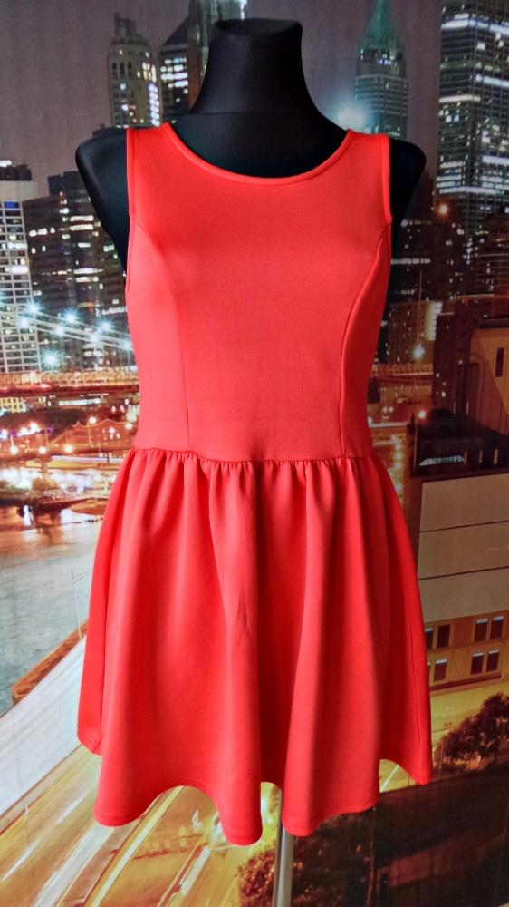 h&m sukienka czerwona zip na plecach 36