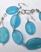 Jadeit błękitny i srebro Zestaw biżuterii 3szt...