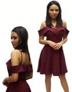 Burgundowa sukienka rozkloszowana elegancka sylwester studniówk...