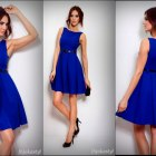 CHABROWA rozkloszowana sukienka PASEK L 40