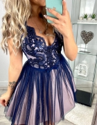 Efektowna sukienka zdobioenia koronka S M L XL