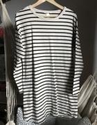 Dresowa sukienka H&M paski beżowa czarna M luźna na co dzień...
