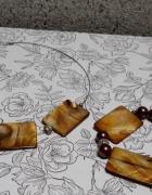 Biżuteria zestaw naszyjnik bransoletka musztardowy