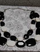 Czarny biały naszyjnik korale TANIO