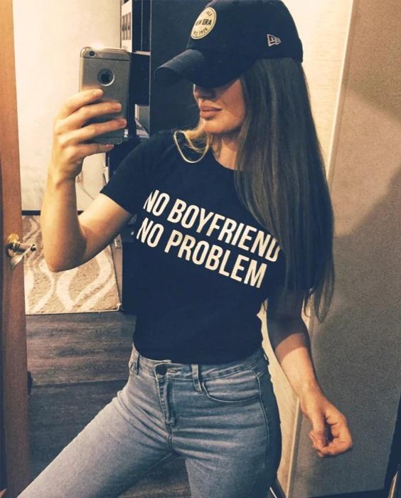 T-shirt NO BOYFRIEND NO PROBLEM Koszulka tshirt premium rozmiary S M L XL XXL