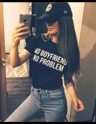 NO BOYFRIEND NO PROBLEM Koszulka tshirt premium rozmiary S M L ...