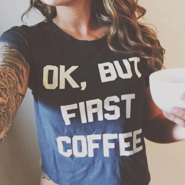 T-shirt Ok but first coffee Koszulka PREMIUM tshirt rozmiary S M L XL XXL