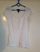 Biała bluza z żabotem guziki na dekolcie używana H&M M L 38 40 ...