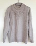 Beżowy sweter z perełkami M L XL 38 40 42 sweterek ciepły unika...