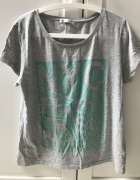 Szary Tshirt koszulka oversize zielony nadruk...