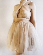 Tiulowa sukienka rozkloszowana beżowa asos...