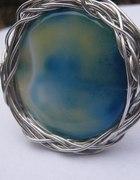 Błękitny agat bransoleta sztywna metaloplastyka
