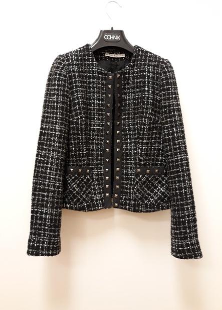 Kookai 45wełna żakiet chanelka tweedowa czarno biała 34 36