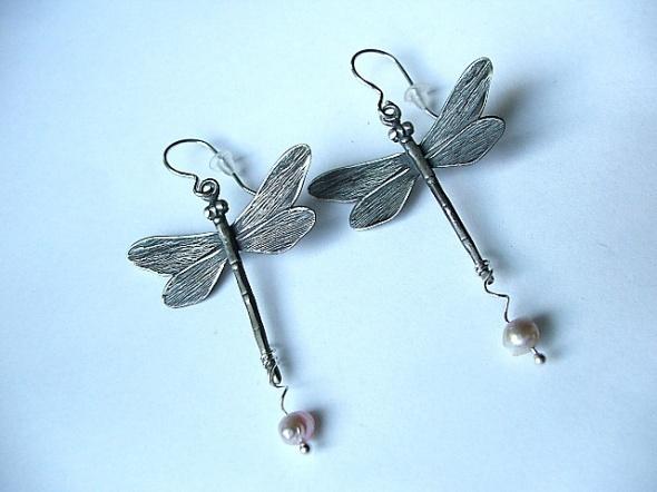 srebrne kolczyki ważki 925 perła hodowlana