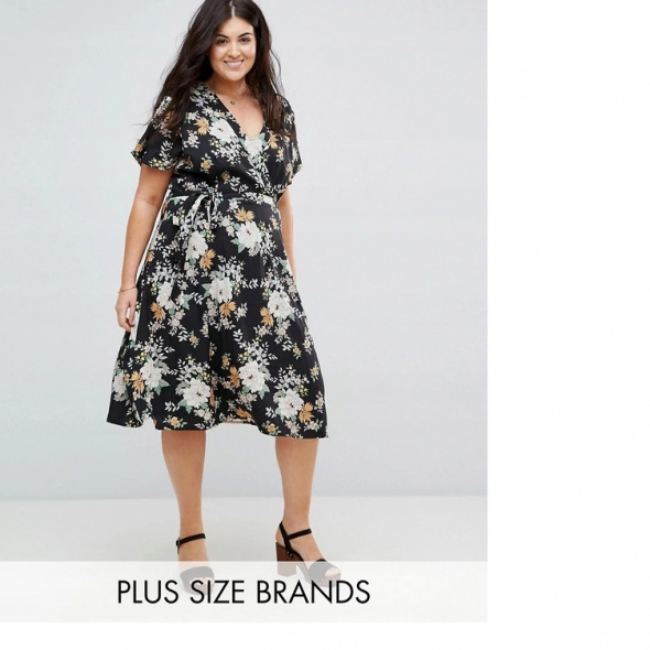 Sukienka ASOS czarna w kwiaty rozkloszowana 50 5XL midi eleganc...
