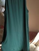 Sukienka H&M 42 XL asymetryczna butelkowa zieleń zdobienie przy...