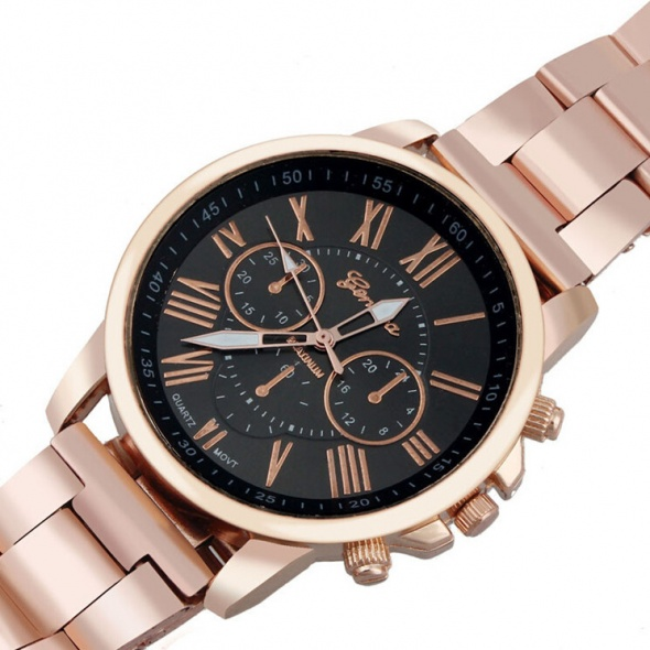 Zegarek Geneva bransoleta różowe złoto kolor tarcz