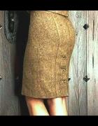 Zgrabna spódniczka z guzikami brązowy melanż...