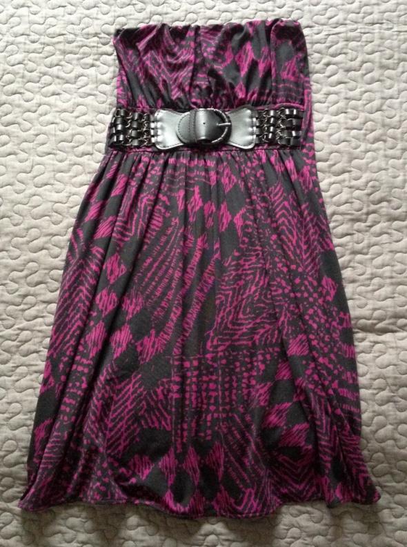 AMISU New Yorker sukienka śliwkowa z paskiem rozm XS 34 stan BDB